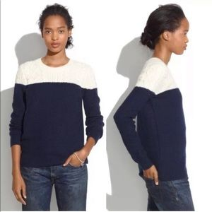 Madewell Colorblock Cable Knit Sweater